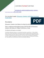 Elementary Statistics 2nd Edition Test Bank Navidi Monk