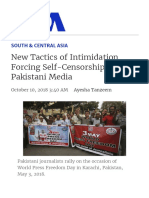 New Tactics of Intimidation Forcing Self-Censorship in Pakistani Media