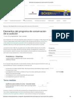 Elementos Del Programa de Conservación de La Audición