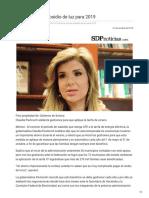 31-10-2018 - Busca Sonora Subsidio de Luz Para 2019 - Sdpnoticias