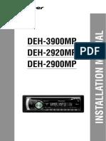 Pioneer DEH-2920MP Installation Manual