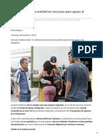 04/Noviembre/2018 Puebla la onceava entidad en recursos para apoyo al migrante