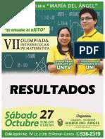 Resultados Vii Olimpiada Interescolar de Matemática 2018