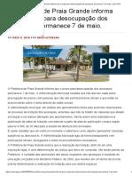 A Prefeitura de Praia Grande informa que o prazo para desocupação dos quiosques permanece 7 de maio. _ _ Eu ♥ PG.pdf