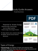 8th grade energy study guide answers