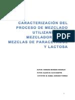 Caracterizacion Del Proceso de Mezclado Utilizando Una Mezcladora en v Mezclas de Paracetamol y Lactosa