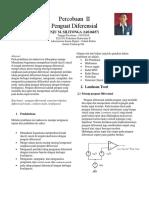 Laporan praktikum elektronika 2 Penguat Diferensial
