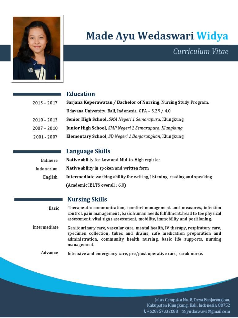 Contoh Curriculum Vitae / CV Bahasa Inggris, Perawat | Nursing | Indonesia