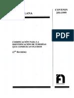 COVENIN 253-1999 - Codificación para la Identificación de Tuberías que Conduzcan Fluidos.pdf