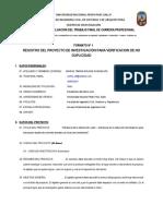Formato No 1 - Registro de Proyecto 2