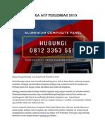 Harga ACP Perlembar 2019 Hp. 08123 3535 597
