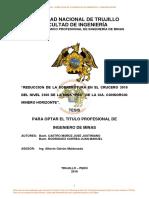 """Reduccion de La Sobrerotura en El Crucero 3910 Del Nivel 2360 de La Mina """"Pec"""" de La CIA. Consorcio Minero Horizonte"""