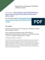 Fundamentals of Human Resource Management 12th Edition Test Bank DeCenzo Robbins Verhulst