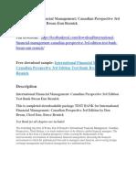International Financial Management Canadian Perspective 3rd Edition Test Bank Brean Eun Resnick