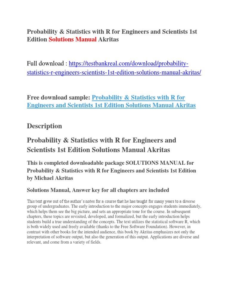 Probability & Statistics With R for Engineers and Scientists 1st Edition Solutions  Manual Akritas   Horse Racing   Statistics