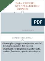 Variabel, Tipe Data, Konstanta, Operator dan Ekspresi