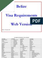 Visa Requirements for Belize December 2013