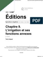 Agricultures Singulières - Chapitre 9. L'Irrigation Et Ses Fonctions Annexes - IRD Éditions