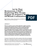 Exploring Why People Engage in Negative Word-Of-mouth Communication
