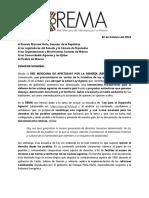 Comunicado sobre Ley Agraria - REMA 30 de octubre
