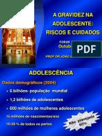 Aula a Gestante Adolescente-riscos e Cuidados