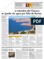 El 70 Por Ciento de Los Totorales Del Lago Titicaca Se Quedan Sin Agua Por Falta de Lluvias