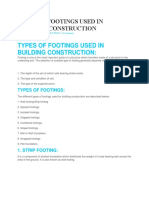 Types of Footings Used in Building Construction