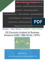 Economic Analysis for Business Decisions MCQs | Economics MCQs