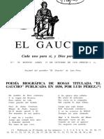 """POESÍA BIOGRÁFICA DE ROSAS TITULADA """"EL GAUCHO"""" PUBLICADA EN 1830, POR LUIS PÉREZ."""