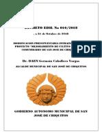 Decreto Edil Nº 010-2018 Modificacion Intrainstitucional Mejoramiento de Cultivo de Maiz