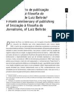 Cinquentenário Iniciação à Filosofia Do Jornalismo Beltrão