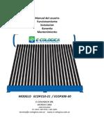 Manual de Instalación Termotanque Solar Presurizado Eco Heat Pipe