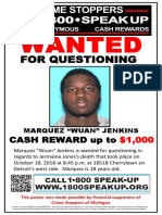 Marquez Wuan Jenkins Wanted for Questioning Poster
