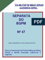 Bgpm 47 - Regula a Implatação Da Rede de Proteção Preventiva Nas Comunidades