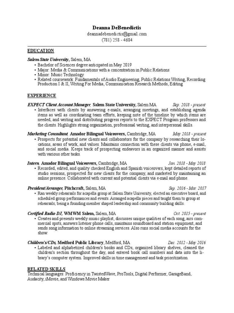 Deanna DeBenedictis's Resume | Communication | Technology