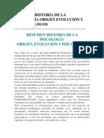 Resumen Historia de La Psicología Origen Evolución y Sus Psicologos
