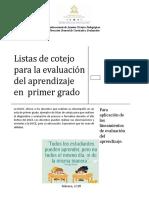 Listas de Cotejo Para La Evaluacic3b3n Del Aprendizaje en Primer Grado (1)