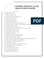 100 Direct Instructions by Allah in the Quran For
