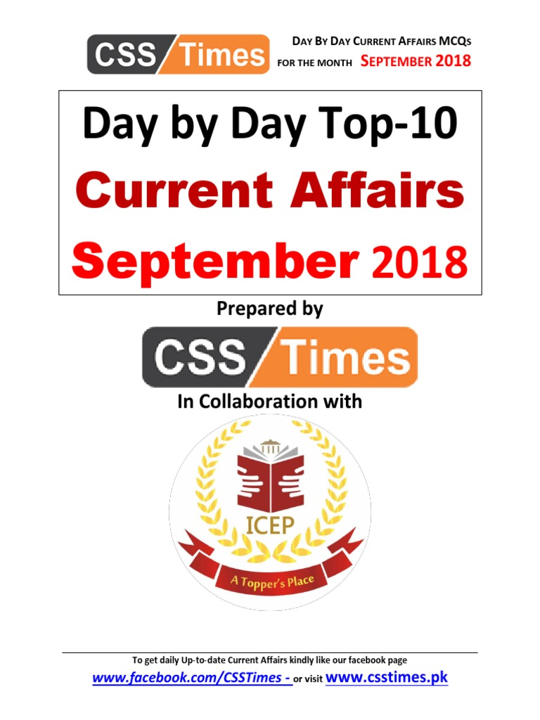 9- Day by Day Current Affairs September 2018 | Afghanistan