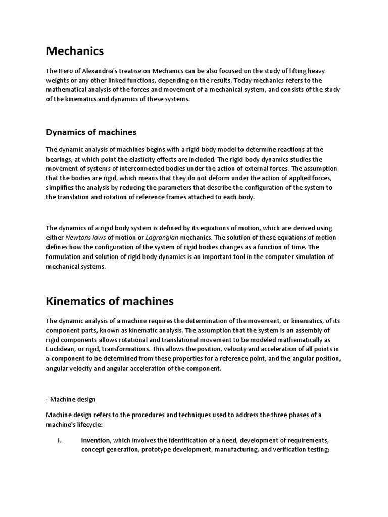 Mechanisms and Their Variations   Machines   Kinematics
