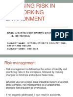 Managing Risk in the Working Environment