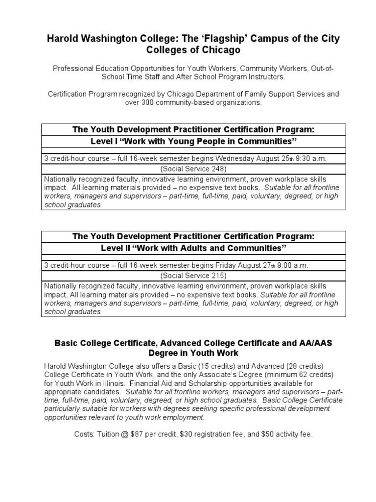 Harold Washington Recruitment Flyer Fall 2010 Graduate School