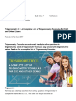 Trigonometry II – a Complete List of Trigonometry Formulas for SSC and Other Exams - TalentSprint