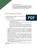 Comunicado de Prensa Unidad Ciudadana - Presupuesto 2019