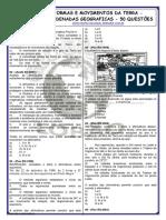 FORMAS E MOVIMENTOS DA TERRA - COORDENADAS GEOGRAFICAS - 50 QUESTÕES.pdf