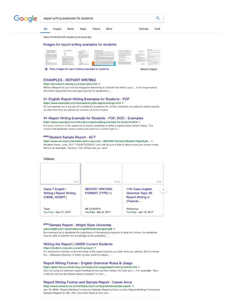 Report Writing Examples For Students - Google Search PDF  PDF