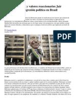 Odio Frustración y Valores Reaccionarios Jair Bolsonaro y La Regresión Política en Brasil Gonzalo Berron