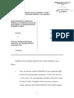 JASON KESSLER et al vs. City of Charlottesville - Complaint (Filed 11/7/2018)