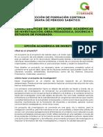 Caracteristicas de Opciones Academicas Sabatico 2017