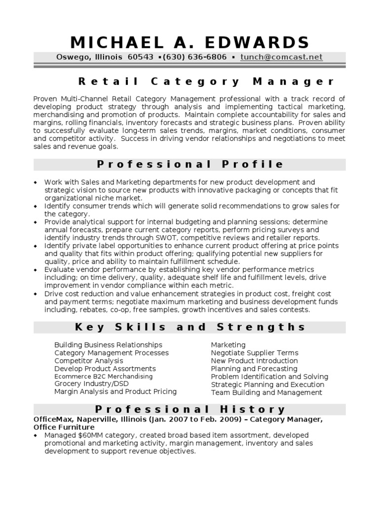 merchandising manager resume